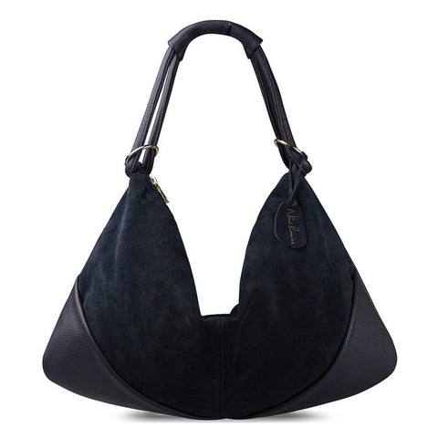 Carla - Navy Blue - Suede Leather Handbag