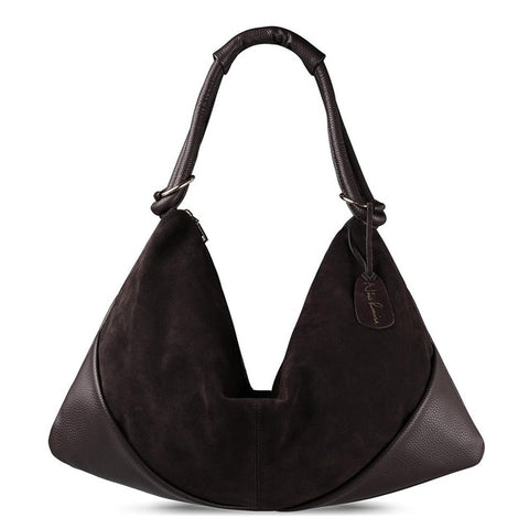 Carla - Dark Coffee - Suede Leather Handbag