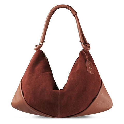 Carla - Light Brown - Suede Leather Handbag