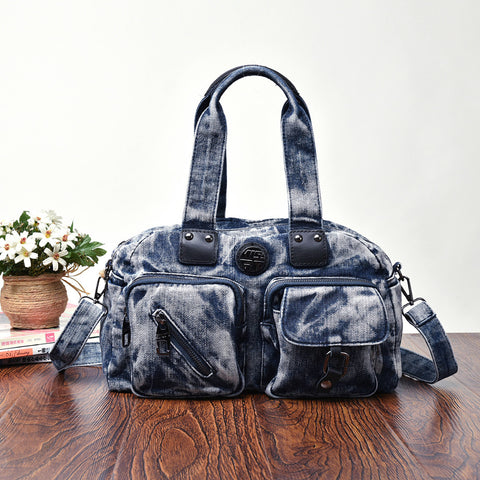 Chloe - Blue - Casual Denim-Wash Tote Bag