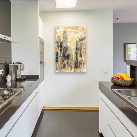 Image of Epic Art 'Manhattan Gray and Gold I' by Silvia Vassileva, Acrylic Glass Wall Art,24x36