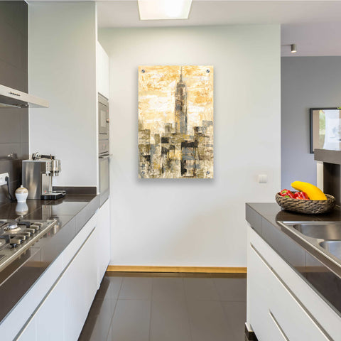 Image of Epic Art 'Manhattan Gray and Gold II' by Silvia Vassileva, Acrylic Glass Wall Art,24x36