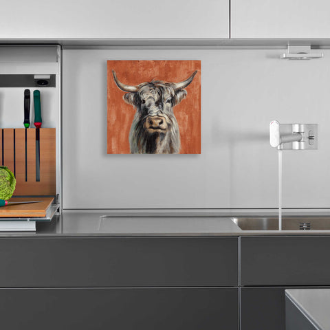 Epic Art 'Highland Cow on Terracotta' by Silvia Vassileva, Acrylic Glass Wall Art,12x12