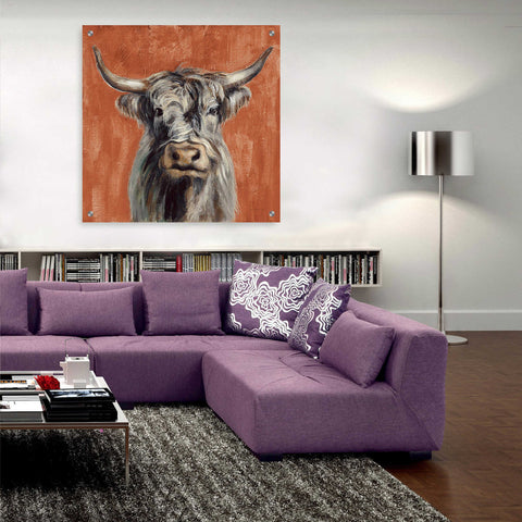 Epic Art 'Highland Cow on Terracotta' by Silvia Vassileva, Acrylic Glass Wall Art,36x36