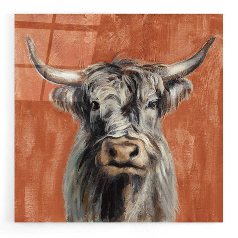 Epic Art 'Highland Cow on Terracotta' by Silvia Vassileva, Acrylic Glass Wall Art