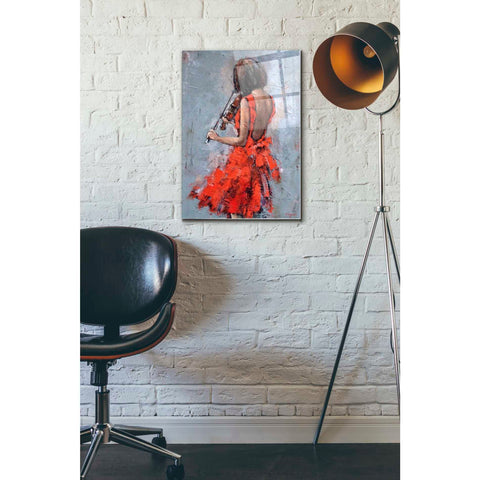 Epic Art 'Violinist in Red' by Alexander Gunin, Acrylic Glass Wall Art,16x24