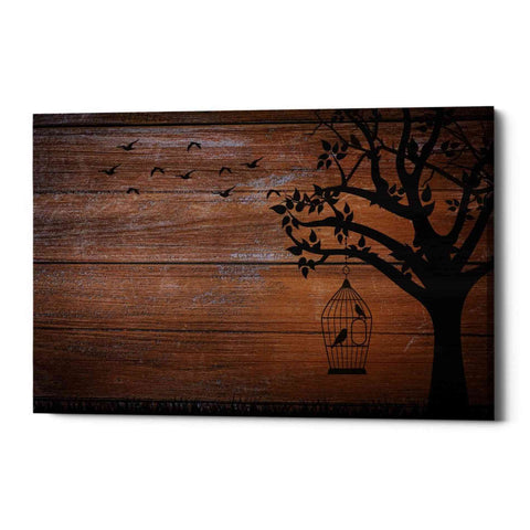 """Wood Series: Birds and Tree Silhouettes"" Giclee Canvas Wall Art"
