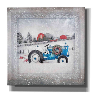 'Christmas Tractor' by Bluebird Barn, Canvas Wall Art,Size 1 Sqaure