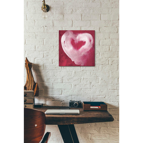 Image of 'Hot Pink Heart' by Linda Woods, Canvas Wall Art,12 x 12