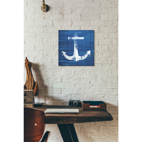 'Blue and White Anchor' by Linda Woods, Giclee Canvas Wall Art