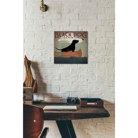'Black Dog Canoe' by Ryan Fowler, Giclee Canvas Wall Art