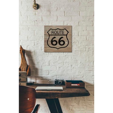 'Route 66 Black On Wood' by Linda Woods, Canvas Wall Art,12 x 12