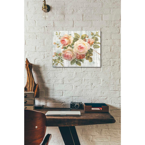 Image of 'Vintage Roses on Driftwood' Canvas Wall Art,,12 x 16
