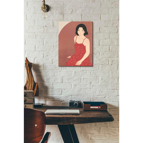 'A Woman in a Red Dress' by Sai Tamiya, Giclee Canvas Wall Art