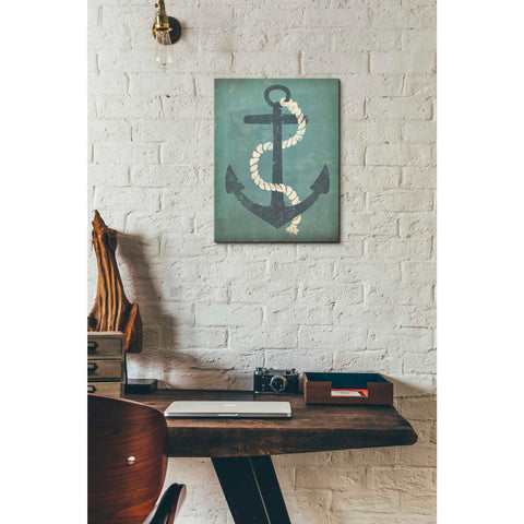 'Nautical Anchor Vertical Blue' by Ryan Fowler, Giclee Canvas Wall Art