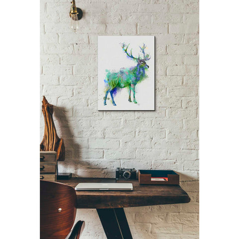 'Deer 1 Rainbow Splash Green Blue' by Fab Funky Canvas Wall Art,12 x 16