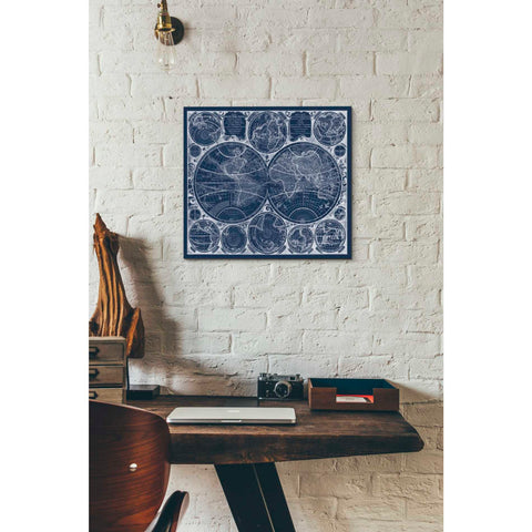 'World Globes Blueprint' by Vision Studio Giclee Canvas Wall Art