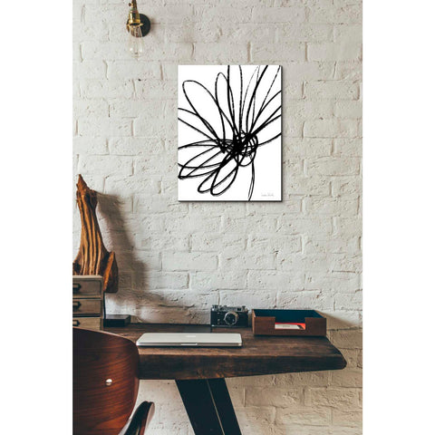 'Black Ink Flower Ii' by Linda Woods, Canvas Wall Art,12 x 16