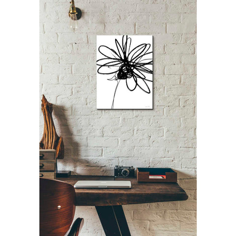 'Black Ink Flower III' by Linda Woods, Canvas Wall Art,12 x 16