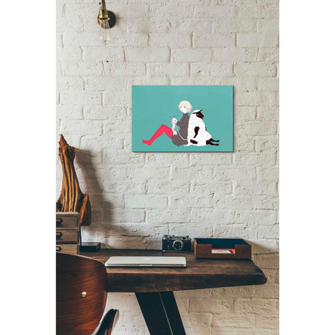 'Sheep and Girl' by Sai Tamiya, Giclee Canvas Wall Art