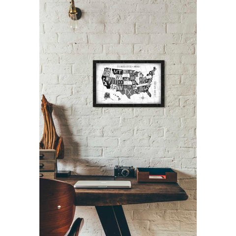 Image of 'Letterpress USA Map Dark' by Michael Mullan, Giclee Canvas Wall Art