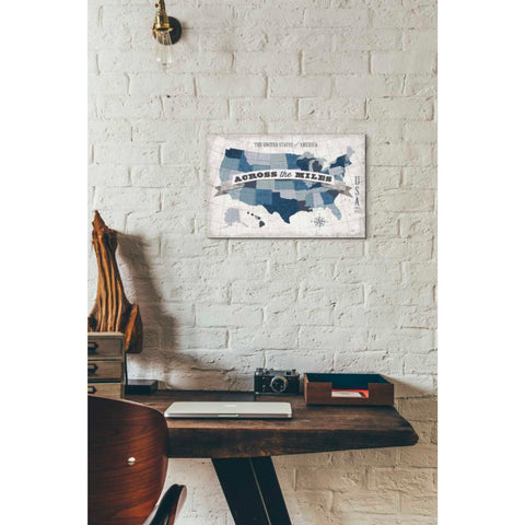'USA Modern Vintage Blue Grey with Words' by Michael Mullan, Giclee Canvas Wall Art