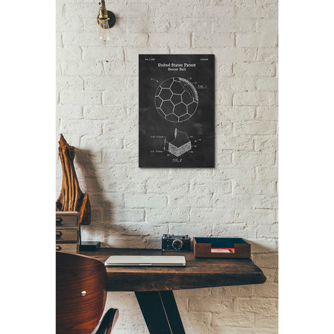 Image of 'Soccer Ball Blueprint Patent Chalkboard' Canvas Wall Art,12 x 18
