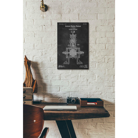 "Image of ""Tesla Steam Engine Blueprint Patent Chalkboard"" Giclee Canvas Wall Art"
