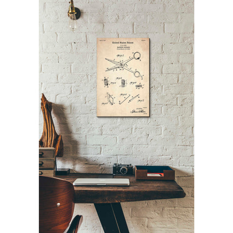 "Image of ""Barber Shears Blueprint Patent Parchment"" Giclee Canvas Wall Art"