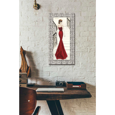 Image of 'La Belle Rouge with Floral Cartouche Border' by Emily Adams, Giclee Canvas Wall Art