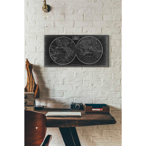'Blueprint of the World in Hemispheres' by Vision Studio Giclee Canvas Wall Art