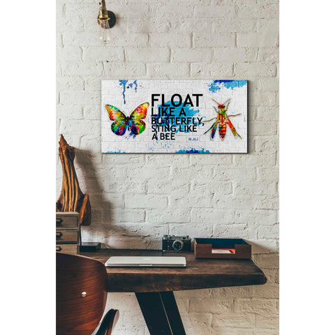 'Float Like a Butterfly, Sting Like a Bee' Canvas Wall Art,24 x 12