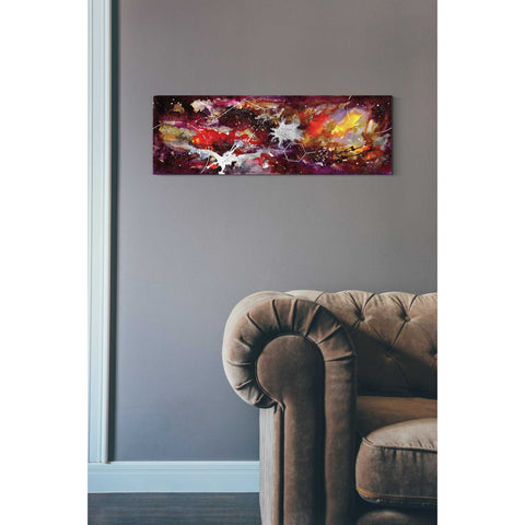 Image of 'Watercolor Nebula Burgundy' by Craig Snodgrass, Canvas Wall Art,12 x 36