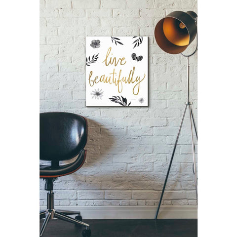 'Live Beautifully BW' by Sara Zieve Miller, Giclee Canvas Wall Art