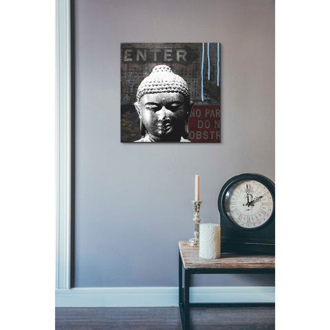 'Urban Buddha IV' by Linda Woods, Canvas Wall Art,18 x 18