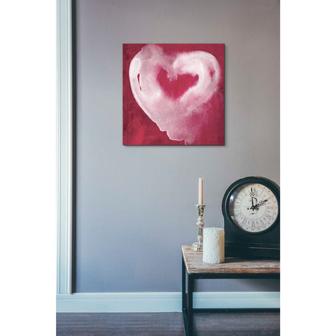 'Hot Pink Heart' by Linda Woods, Canvas Wall Art,18 x 18