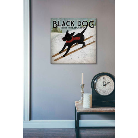 'Black Dog Ski' by Ryan Fowler, Giclee Canvas Wall Art