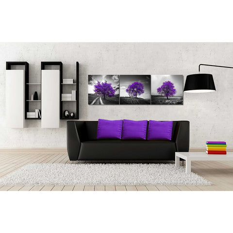 Image of 'Vibrant Tree Series: Amethyst Triptych (Set of 3)' Canvas Wall Art,54 x 18