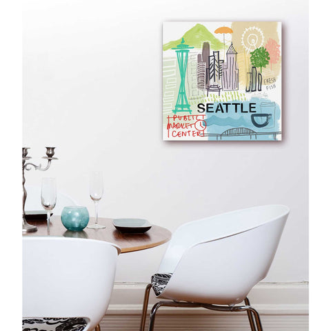 """Seattle"" by Linda Woods, Giclee Canvas Wall Art"