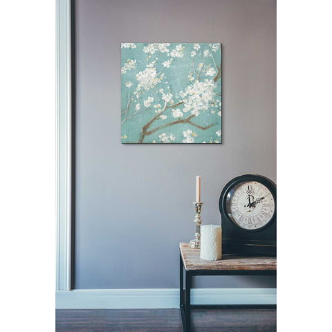 """White Cherry Blossom I on Blue"" by Danhui Nai, Giclee Canvas Wall Art"