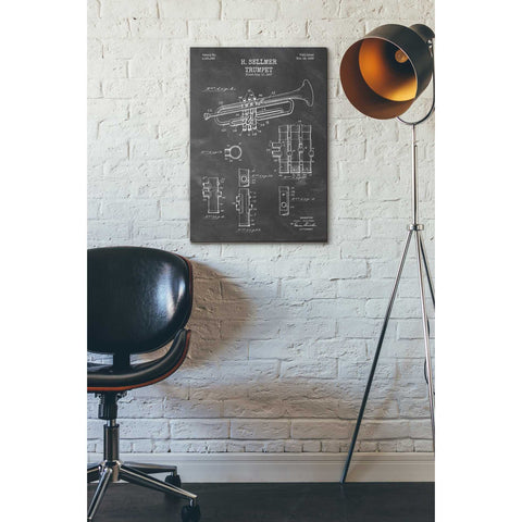 "Image of ""Trumpet Blueprint Patent Chalkboard"" Giclee Canvas Wall Art"