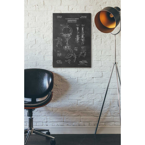 """Handcuffs Blueprint Patent Chalkboard"" Giclee Canvas Wall Art"