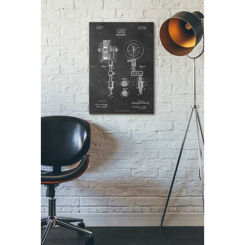 "Image of ""Tattoo Machine Blueprint Patent Chalkboard"" Giclee Canvas Wall Art"