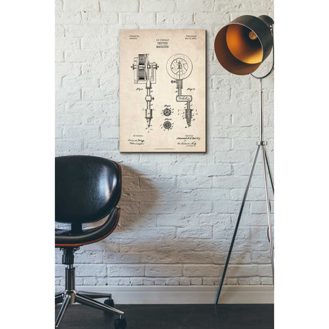 """Tattoo Machine Blueprint Patent Parchment"" Giclee Canvas Wall Art"