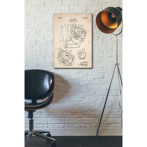 'Baseball Glove Blueprint Patent Parchment' Canvas Wall Art,18 x 26