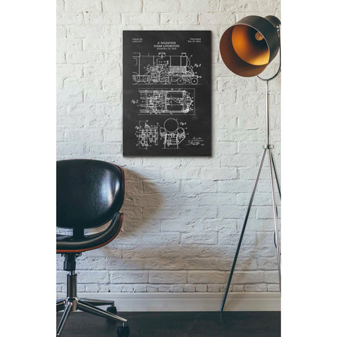 """Steam Locomotive Blueprint Chalkboard Patent"" Giclee Canvas Wall Art"