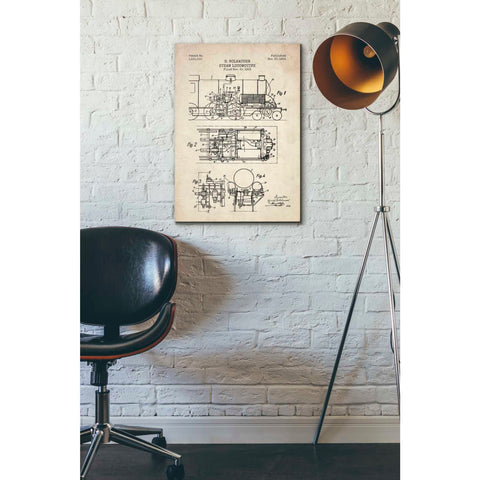 """Steam Locomotive Blueprint Parchment Patent"" Giclee Canvas Wall Art"