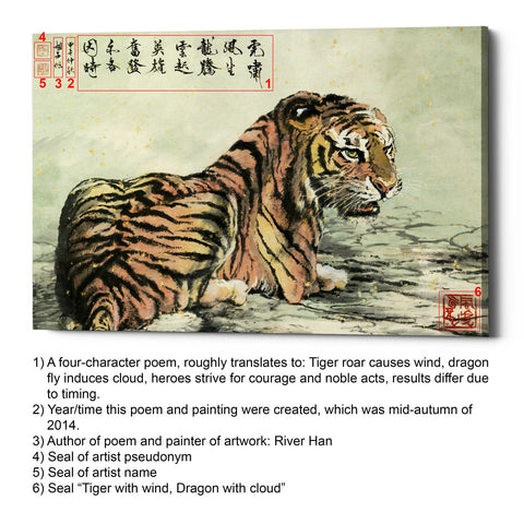 'Tiger Relaxing' by River Han, Giclee Canvas Wall Art