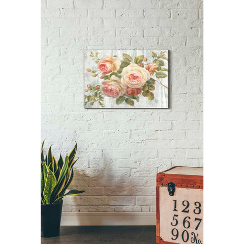 Image of 'Vintage Roses on Driftwood' Canvas Wall Art,,18 x 26
