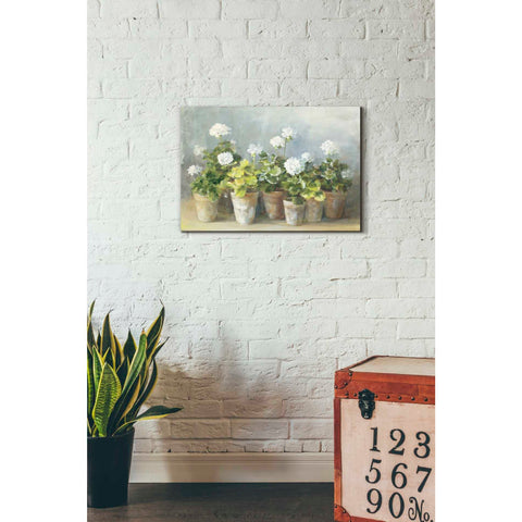 'White Geraniums Crop' by Danhui Nai, Giclee Canvas Wall Art